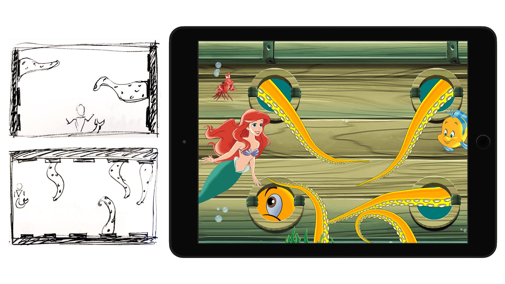 sketches and final screenshot of ariel mini-game